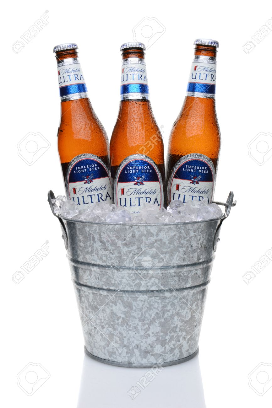 Michelob Ultra Bottles in an Ice Bucket